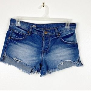 Free People Button Fly Distressed Jean Shorts